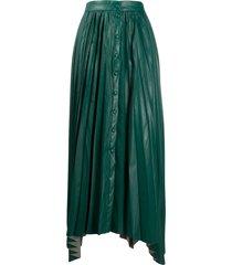 isabel marant vegan leather pleated maxi skirt - green