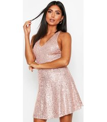 sequin skater dress, gold