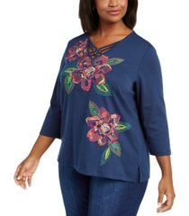 alfred dunner plus size road trip embroidered 3/4-sleeve top