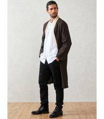 abrigo anudado liso casual para hombre cárdigan de corte holgado de longitud media