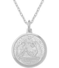 "baptism medallion 18"" pendant necklace in sterling silver"