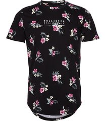 floral small-scale t-shirts short-sleeved svart hollister