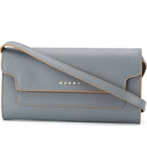 marni bellows leather wallet - grey
