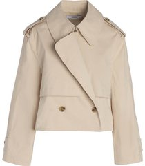women's thakoon crop trench jacket, size 6 - beige