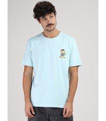 camiseta masculina garfield na praia manga curta gola careca azul claro