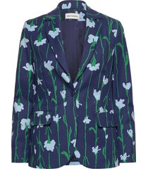 kiehtoa viivakukka jacket blazer colbert blauw marimekko