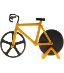 cortador de pizza bicicleta decorativo cor amarelo 12x18x3cm