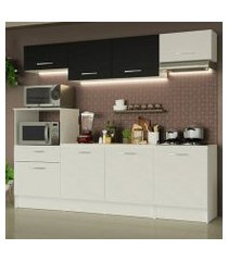 cozinha completa madesa onix 240002 com armario e balcão branco/preto 0973 branco/branco/preto