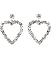 'caur' swarovski crystal cutout heart drop earrings