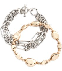 open edit set of 2 chain link bracelets in rhodium- gold at nordstrom