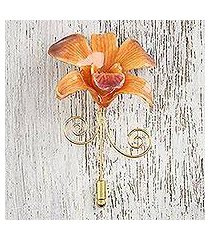 gold accent natural flower brooch, 'garden sunset' (thailand)