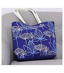 cotton tote, 'lapis garden' (india)