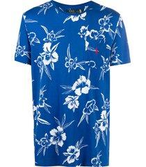 polo ralph lauren hibiscus print pocket t-shirt - blue