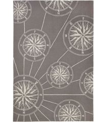 """liora manne frontporch compass black and gray 5' x 7'6"""" area rug"""