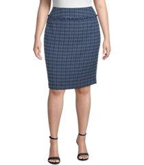 kasper plus size fringe-trimmed tweed pencil skirt