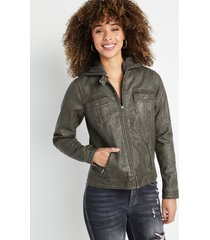 maurices womens gray hooded faux leather zip up jacket
