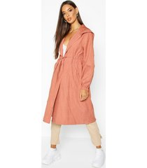 hooded belted trench coat, rose