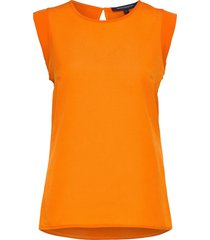 crepe light capped slv tee t-shirts & tops sleeveless orange french connection