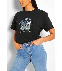 bloemenprint slogan t-shirt, zwart