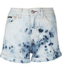 philipp plein bleached hot pants - blue
