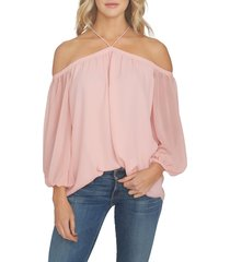 women's 1.state off the shoulder sheer chiffon blouse, size large - pink