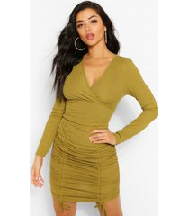 rib wrap over ruched mini dress, olive