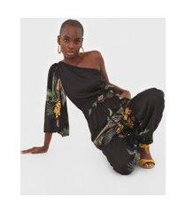 macacão dress to jogger ombro único paradiso preto