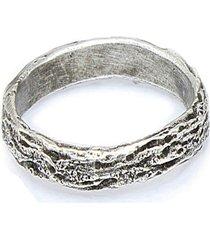 anel  textura de madeira   prata 925