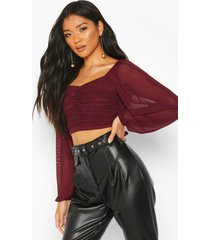 mesh long sleeve red crop top, wine