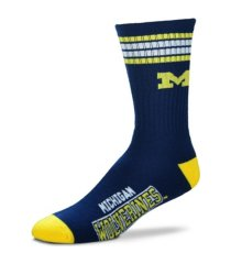 for bare feet michigan wolverines youth 4 stripe deuce crew socks