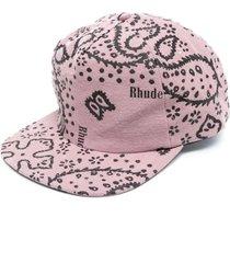 rhepurposed bandana print cap, mauve
