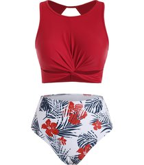 floral leaves twist cutout tankini swimwear