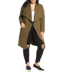 plus size women's bb dakota revolution drapey boucle trench coat