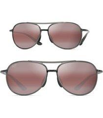 maui jim alelele 60mm aviator sunglasses in transparent smoke grey/bronze at nordstrom