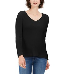style & co cotton rib-knit v-neck sweater, created for macy's