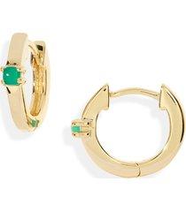 women's madewell delicate collection demi fine green agate huggie mini hoop earrings