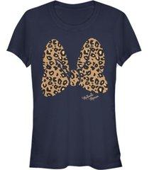 fifth sun women's disney mickey classic animal print bow short sleeve t-shirt