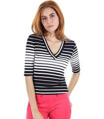 blusa manga curta listrada com decote em v ajustada - preto - feminino - dafiti