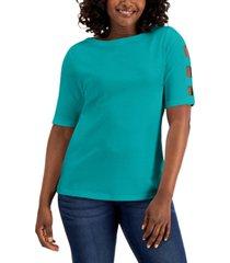 karen scott petite cotton elbow-sleeve boat-neck top, created for macy's