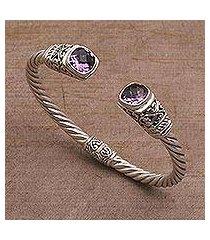 amethyst cuff bracelet, 'altar swirl' (indonesia)