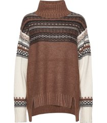 patchwork fairisle knits hnck turtleneck coltrui bruin french connection