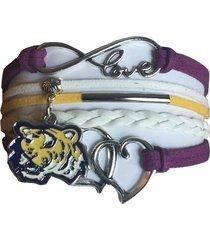 louisiana state university tigers lsu fan shop infinity hearts bracelet jewelry