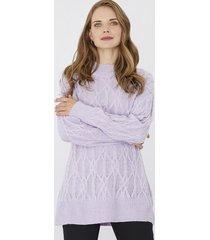 sweater trenzas lila corona