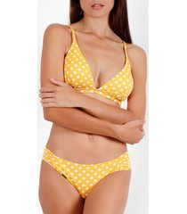 bikini admas life dots 2-delig voorgevormd driehoek bikini setje geel