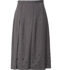 nº21 crystal-embellished pleated skirt - grey
