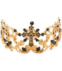 dolce & gabbana crystal embellished tiara - gold