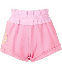 loveshackfancy patch-detail track shorts - pink