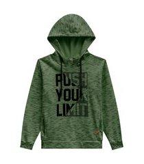 blusão juvenil abrange way estampa com puff mescla verde abrange casual verde