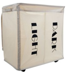 mind reader double rolling hamper laundry sorter with lid, wheels, handles
