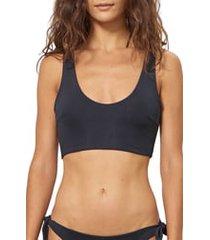 women's mara hoffman lira bikini top, size x-large - black